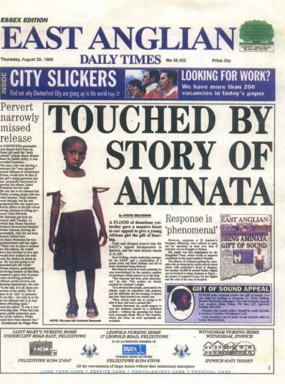 EAST ANGLIA Daily Times, A FLOOD of donations yesterday gave a massive boost to our appeal to give a young African girl the gift of hearing