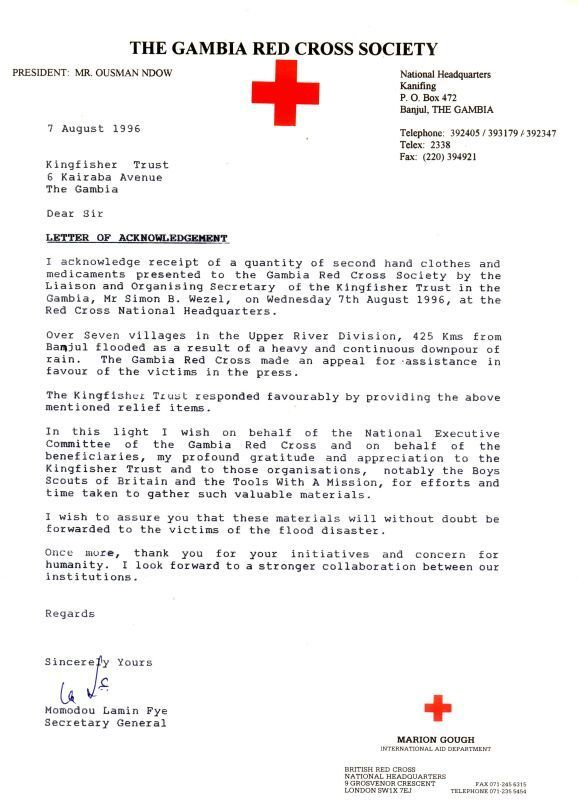 The Gambia Red Cross Society Letter of Acknowledgement