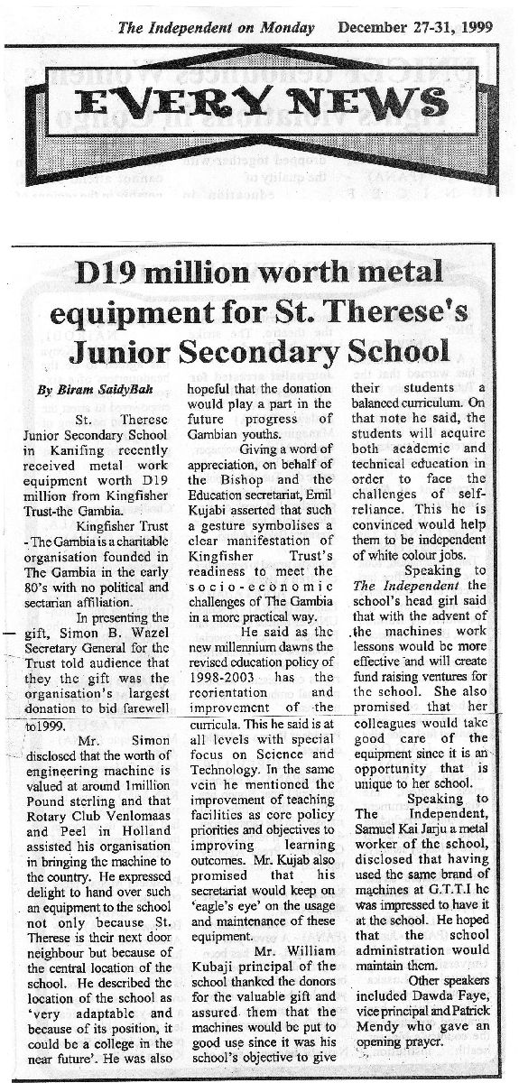 19 million Dalsis worth metal equipment fo St.Therese's Junior Secondary School